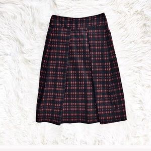 J.O.A. plaid pleated midi skirt